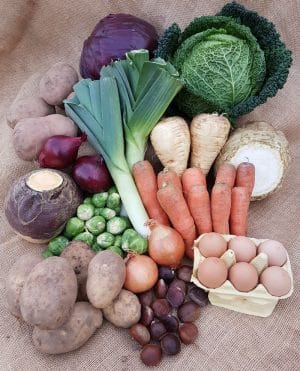 Photo of the contents of the medium Christmas Veg box